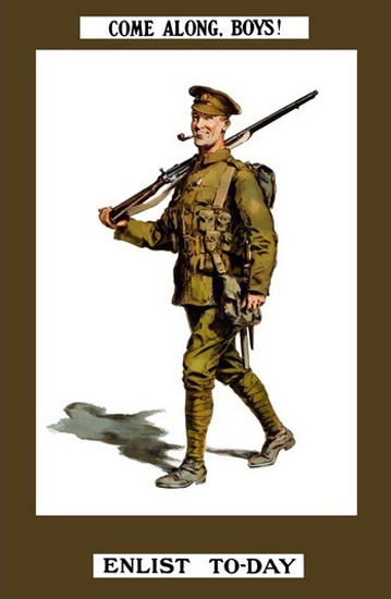 Come Along Boys Enlist To-Day Smiling Soldier | Vintage War Propaganda Posters 1891-1970