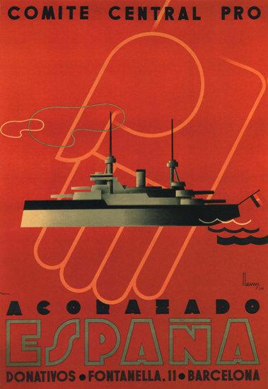 Comite Central Pro Acorazado Espana Barcelona | Vintage War Propaganda Posters 1891-1970