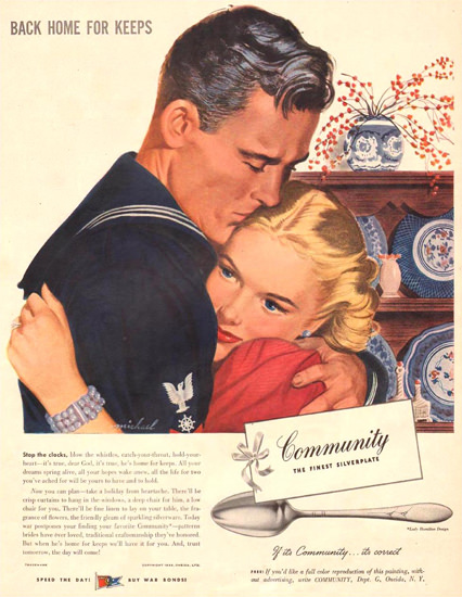 Community Silverplate Back Home Keeps 1944 | Sex Appeal Vintage Ads and Covers 1891-1970