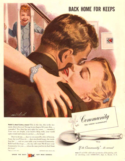 Community Silverplate Back Home Keeps 1945 | Sex Appeal Vintage Ads and Covers 1891-1970