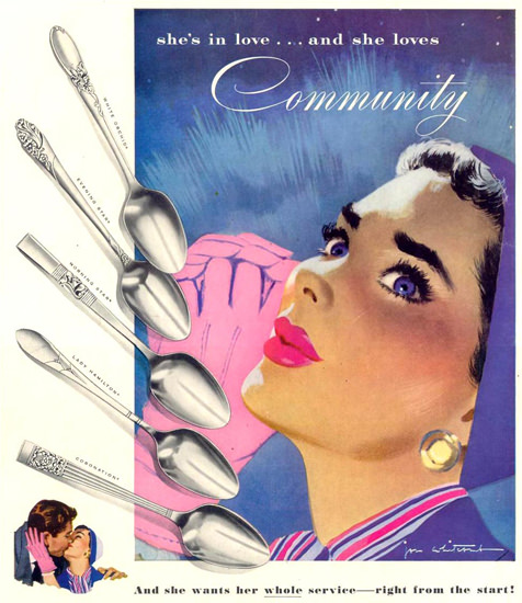 Community Silverplate In Love 1953 | Sex Appeal Vintage Ads and Covers 1891-1970
