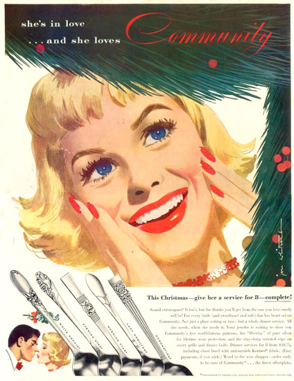Community Silverplate In Love Christmas 1953 | Sex Appeal Vintage Ads and Covers 1891-1970