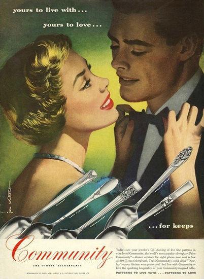 Community Silverware For Keeps Best Clothes | Sex Appeal Vintage Ads and Covers 1891-1970