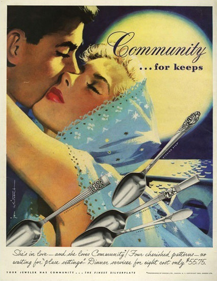 Community Silverware For Keeps Night Moon | Sex Appeal Vintage Ads and Covers 1891-1970