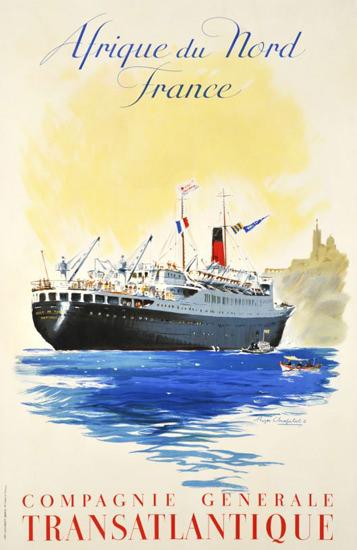 Compagnie Transatlantique Afrique Nord 1952 | Vintage Travel Posters 1891-1970