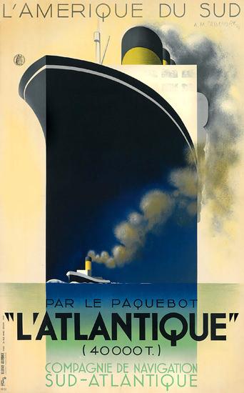 Companie De Naviagation Atlantique Paquebot   Vintage Travel Posters 1891-1970
