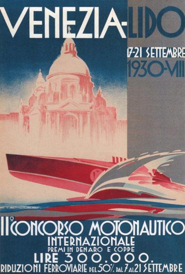 Concorso Motonautico Int Venezia 1930   Vintage Ad and Cover Art 1891-1970