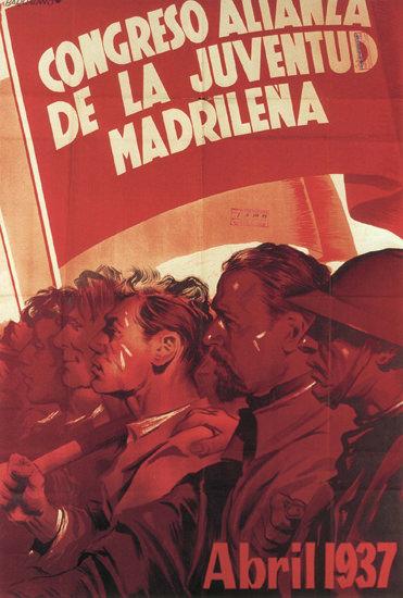 Congreso Alianza De La Juventud Madrilena 1937   Vintage War Propaganda Posters 1891-1970