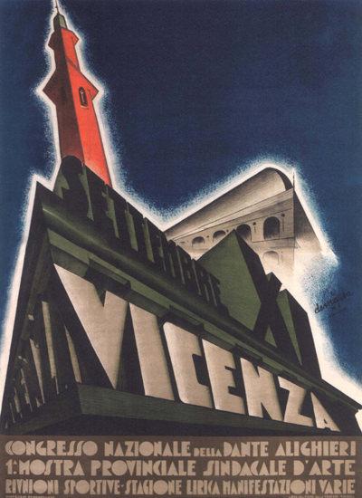 Congresso Nazionale Della Dante Alighieri Vicenza   Vintage Ad and Cover Art 1891-1970