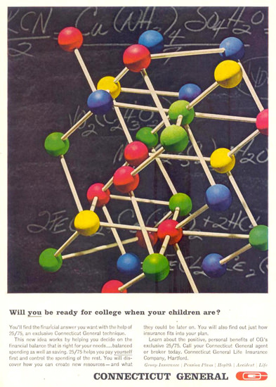 Connecticut General Ready For College 1963   Vintage Ad and Cover Art 1891-1970