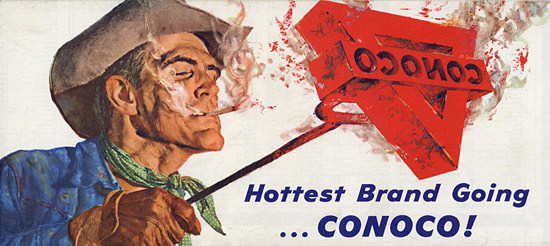 Conoco Cowboy Hottest Brand Going Map 1963 | Sex Appeal Vintage Ads and Covers 1891-1970