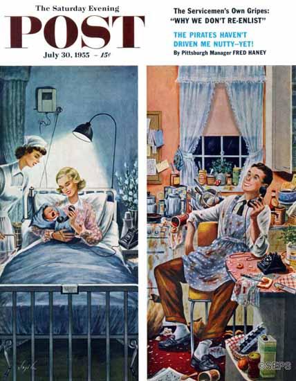 Constantin Alajalov Saturday Evening Post Baby Talk 1955_07_30   The Saturday Evening Post Graphic Art Covers 1931-1969