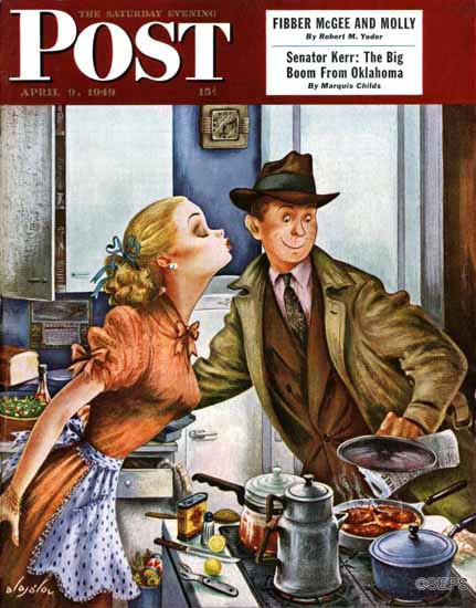 Constantin Alajalov Saturday Evening Post Before Dinner Kiss 1949_04_09 | The Saturday Evening Post Graphic Art Covers 1931-1969