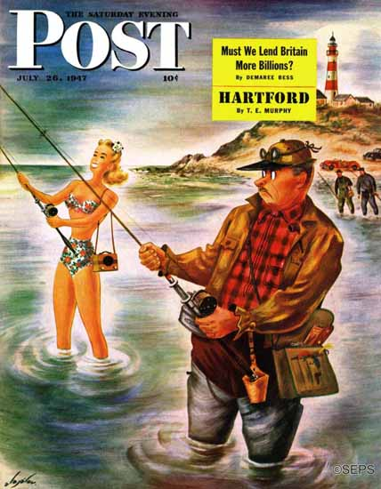 Constantin Alajalov Saturday Evening Post Bikini Surf Fisher 1947_07_26 | The Saturday Evening Post Graphic Art Covers 1931-1969