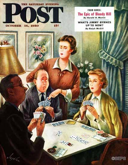 Constantin Alajalov Saturday Evening Post Bridge Game 1950_10_14 | The Saturday Evening Post Graphic Art Covers 1931-1969
