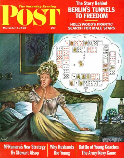 Constantin Alajalov Saturday Evening Post Bridge Hand Sleep 1962_12_01 | The Saturday Evening Post Graphic Art Covers 1931-1969