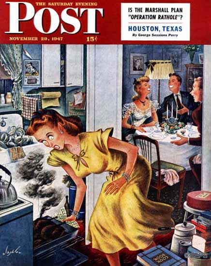 Constantin Alajalov Saturday Evening Post Burnt Turkey 1947_11_29 | The Saturday Evening Post Graphic Art Covers 1931-1969
