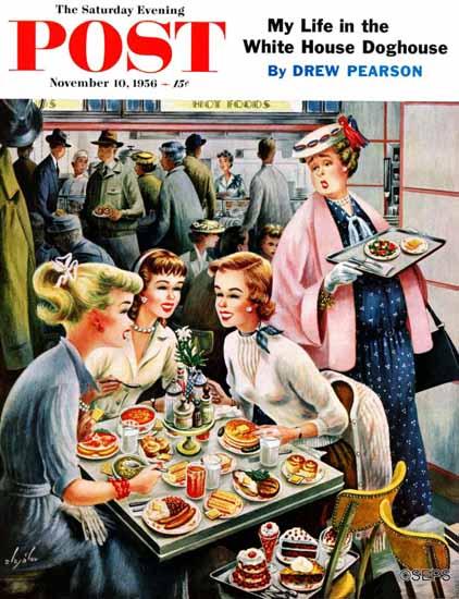 Constantin Alajalov Saturday Evening Post Cafeteria Dieter 1956_11_10 | The Saturday Evening Post Graphic Art Covers 1931-1969