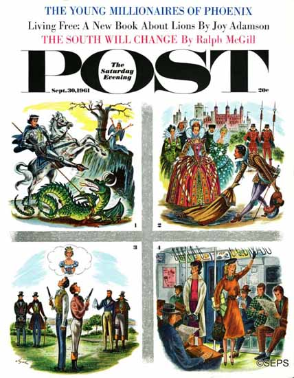 Constantin Alajalov Saturday Evening Post Chivalry is Dead 1961_09_30 | The Saturday Evening Post Graphic Art Covers 1931-1969