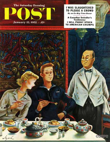 Constantin Alajalov Saturday Evening Post Chopsticks Use 1952_01_12 | The Saturday Evening Post Graphic Art Covers 1931-1969