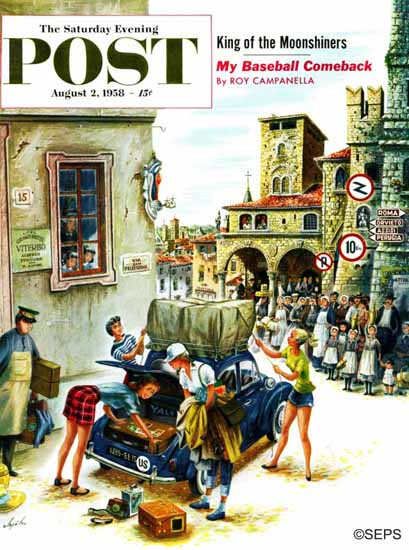 Constantin Alajalov Saturday Evening Post Coed in Italy 1958_08_02 | The Saturday Evening Post Graphic Art Covers 1931-1969