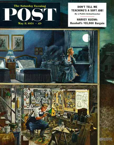 Constantin Alajalov Saturday Evening Post Different Interests 1954_05_08 | The Saturday Evening Post Graphic Art Covers 1931-1969