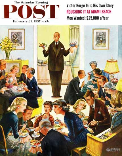 Constantin Alajalov Saturday Evening Post Dinner Buffet 1957_02_23 | The Saturday Evening Post Graphic Art Covers 1931-1969