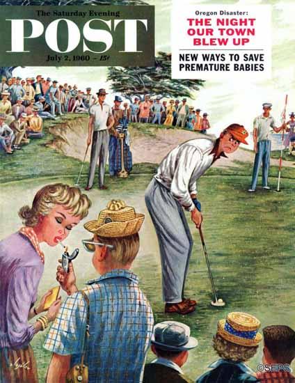 Constantin Alajalov Saturday Evening Post Distracted Golfer 1960_07_02 | The Saturday Evening Post Graphic Art Covers 1931-1969