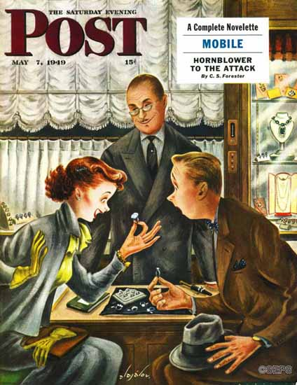 Constantin Alajalov Saturday Evening Post Engagement Ring 1949_05_07 | The Saturday Evening Post Graphic Art Covers 1931-1969