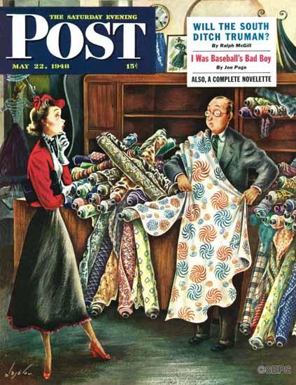 Constantin Alajalov Saturday Evening Post Fabric Store 1948_05_22 | The Saturday Evening Post Graphic Art Covers 1931-1969