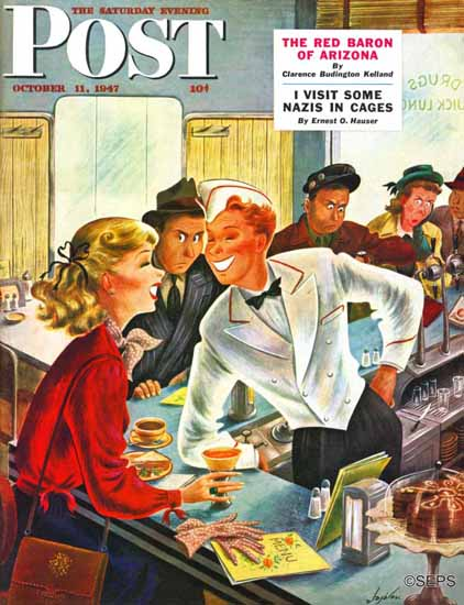 Constantin Alajalov Saturday Evening Post Flirting Soda Jerk 1947_10_11 | The Saturday Evening Post Graphic Art Covers 1931-1969