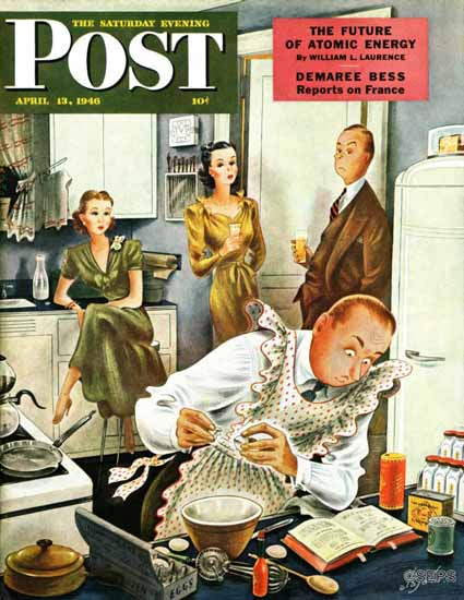 Constantin Alajalov Saturday Evening Post Gourmet Cook 1946_04_13 | The Saturday Evening Post Graphic Art Covers 1931-1969