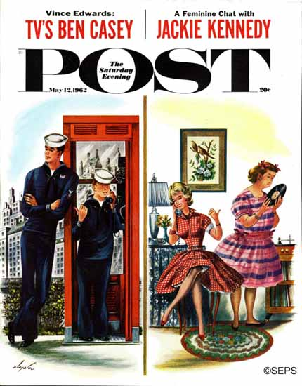 Constantin Alajalov Saturday Evening Post Great Personality 1962_05_12 | The Saturday Evening Post Graphic Art Covers 1931-1969