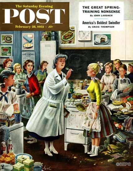 Constantin Alajalov Saturday Evening Post Home Ec 1953_02_28   The Saturday Evening Post Graphic Art Covers 1931-1969