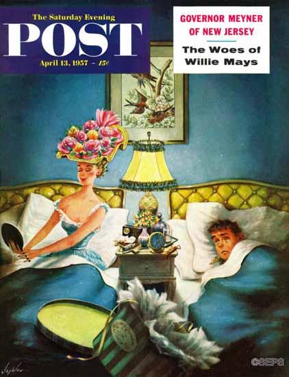 Constantin Alajalov Saturday Evening Post Late Night Check 1957_04_13 | The Saturday Evening Post Graphic Art Covers 1931-1969