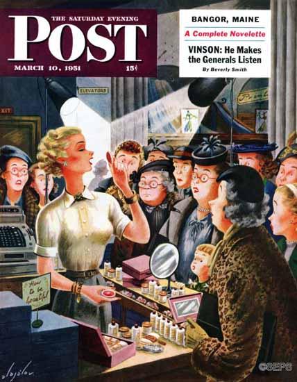 Constantin Alajalov Saturday Evening Post Makeup Counter 1951_03_10 | The Saturday Evening Post Graphic Art Covers 1931-1969