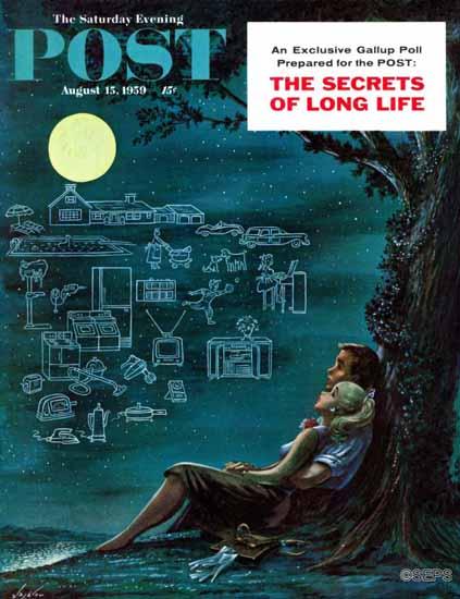 Constantin Alajalov Saturday Evening Post Moonlit Future 1959_08_15 | The Saturday Evening Post Graphic Art Covers 1931-1969