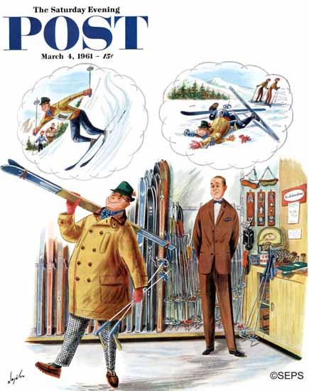 Constantin Alajalov Saturday Evening Post New Skier 1961_03_04 | The Saturday Evening Post Graphic Art Covers 1931-1969