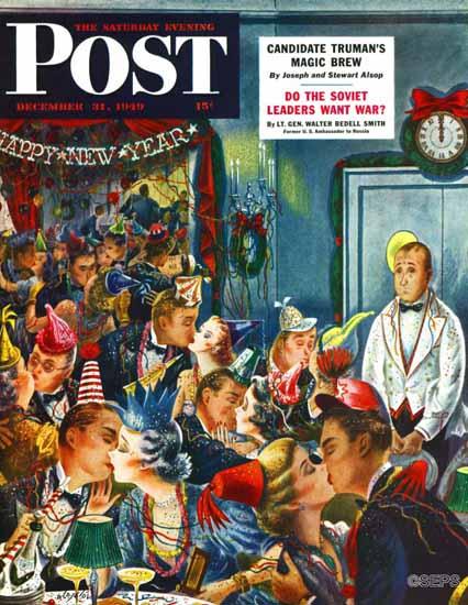 Constantin Alajalov Saturday Evening Post Nobody to Kiss 1949_12_31 | The Saturday Evening Post Graphic Art Covers 1931-1969