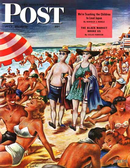 Constantin Alajalov Saturday Evening Post Palefaces at Beach 1946_07_27 | The Saturday Evening Post Graphic Art Covers 1931-1969