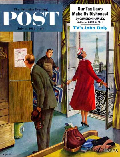 Constantin Alajalov Saturday Evening Post Paris Hotel 1956_07_14 | The Saturday Evening Post Graphic Art Covers 1931-1969