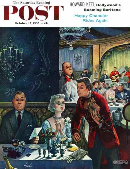 Constantin Alajalov Saturday Evening Post Pricey Dinner 1955_10_15 | The Saturday Evening Post Graphic Art Covers 1931-1969