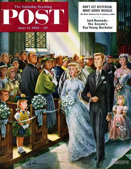 Constantin Alajalov Saturday Evening Post Recessional 1953_06_13 | The Saturday Evening Post Graphic Art Covers 1931-1969