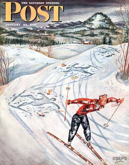 Constantin Alajalov Saturday Evening Post Snow Skiers Falls 1947_01_25 | The Saturday Evening Post Graphic Art Covers 1931-1969