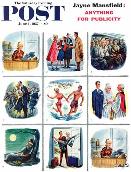 Constantin Alajalov Saturday Evening Post Story of Love 1957_06_01 | The Saturday Evening Post Graphic Art Covers 1931-1969