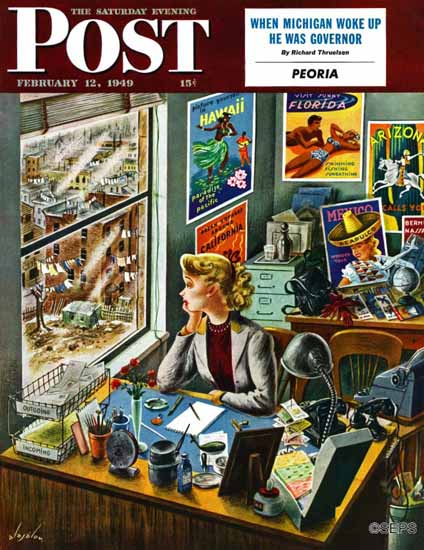 Constantin Alajalov Saturday Evening Post Travel Agent Desk 1949_02_12 | The Saturday Evening Post Graphic Art Covers 1931-1969