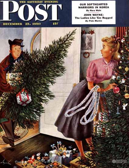 Constantin Alajalov Saturday Evening Post Tree Love 1950_12_23 | The Saturday Evening Post Graphic Art Covers 1931-1969