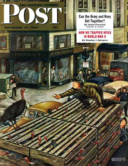 Constantin Alajalov Saturday Evening Post Turkey Loose Truck 1948_11_27 | The Saturday Evening Post Graphic Art Covers 1931-1969