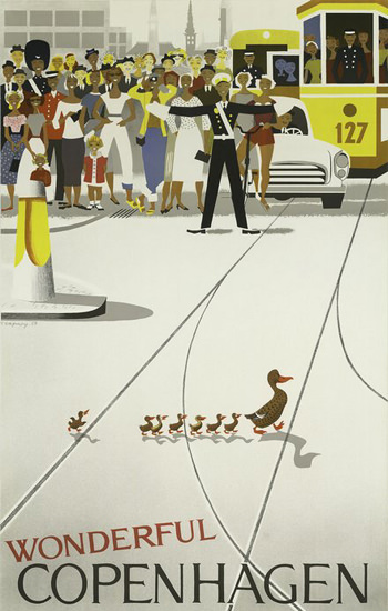 Copenhagen Wonderful Ducklings Denmark | Vintage Travel Posters 1891-1970