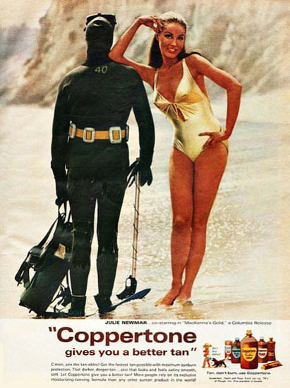 Coppertone Suntan Lotion Julie Newmar Diver | Sex Appeal Vintage Ads and Covers 1891-1970